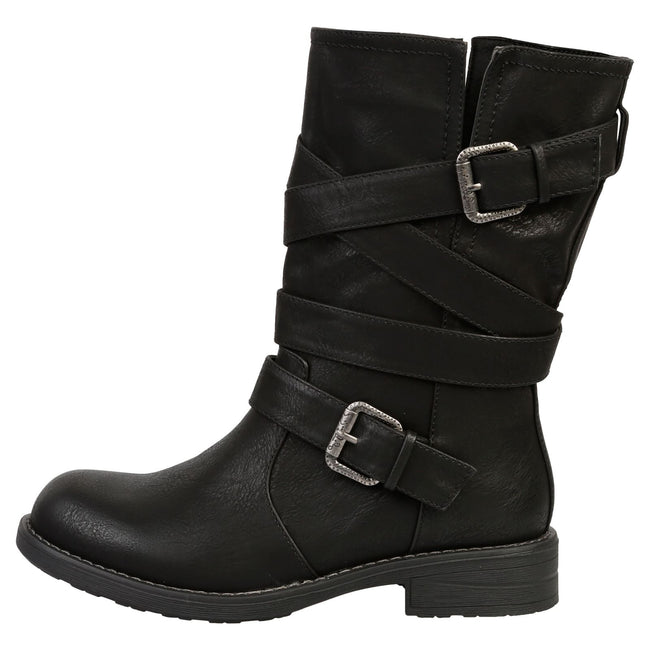 Raelynn Strappy Biker Boots in Black Faux Leather - Feet First Fashion