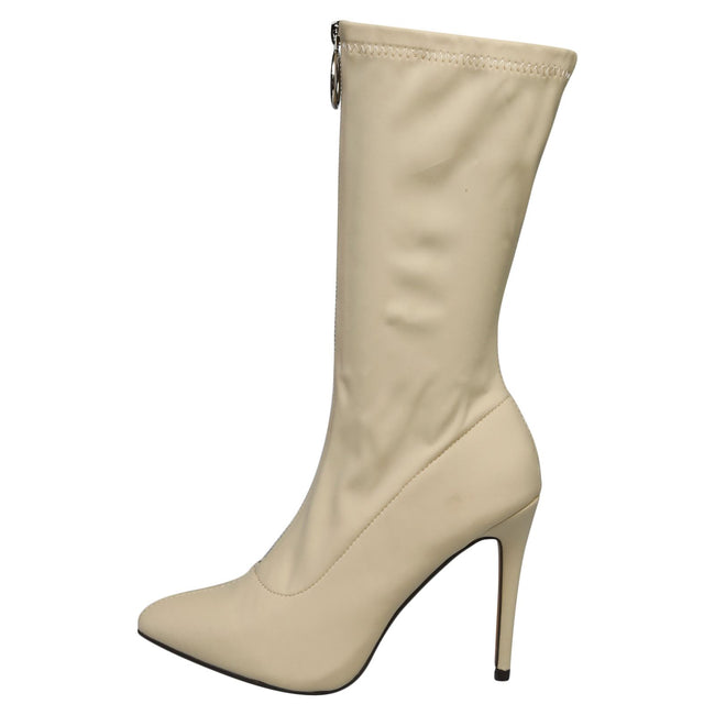 Cynthia Stilleto Heel Mid Calf Boots in Beige - Feet First Fashion