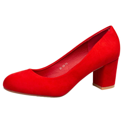 Danita Stiletto Heel Court Shoes in Red Faux Suede