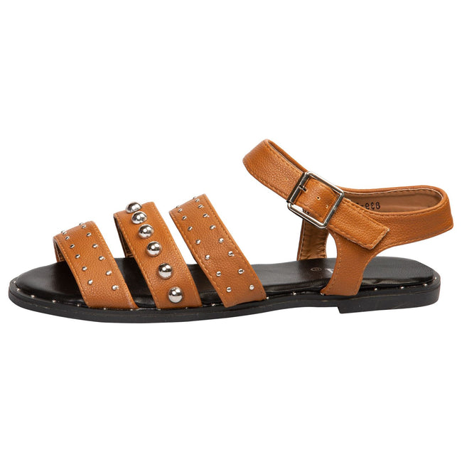 Elena Flat Studded Sandals in Camel Faux Leather
