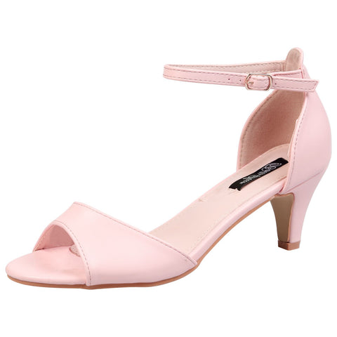 Alva Stripe Sole Flatform Sliders in Pink Faux Leather