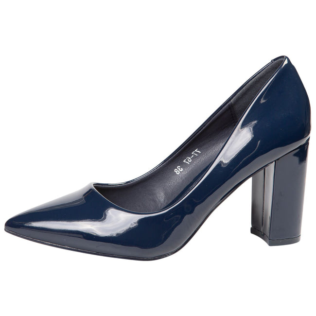Connie Block Heel Court Shoes in Navy Blue Patent - Feet First Fashion