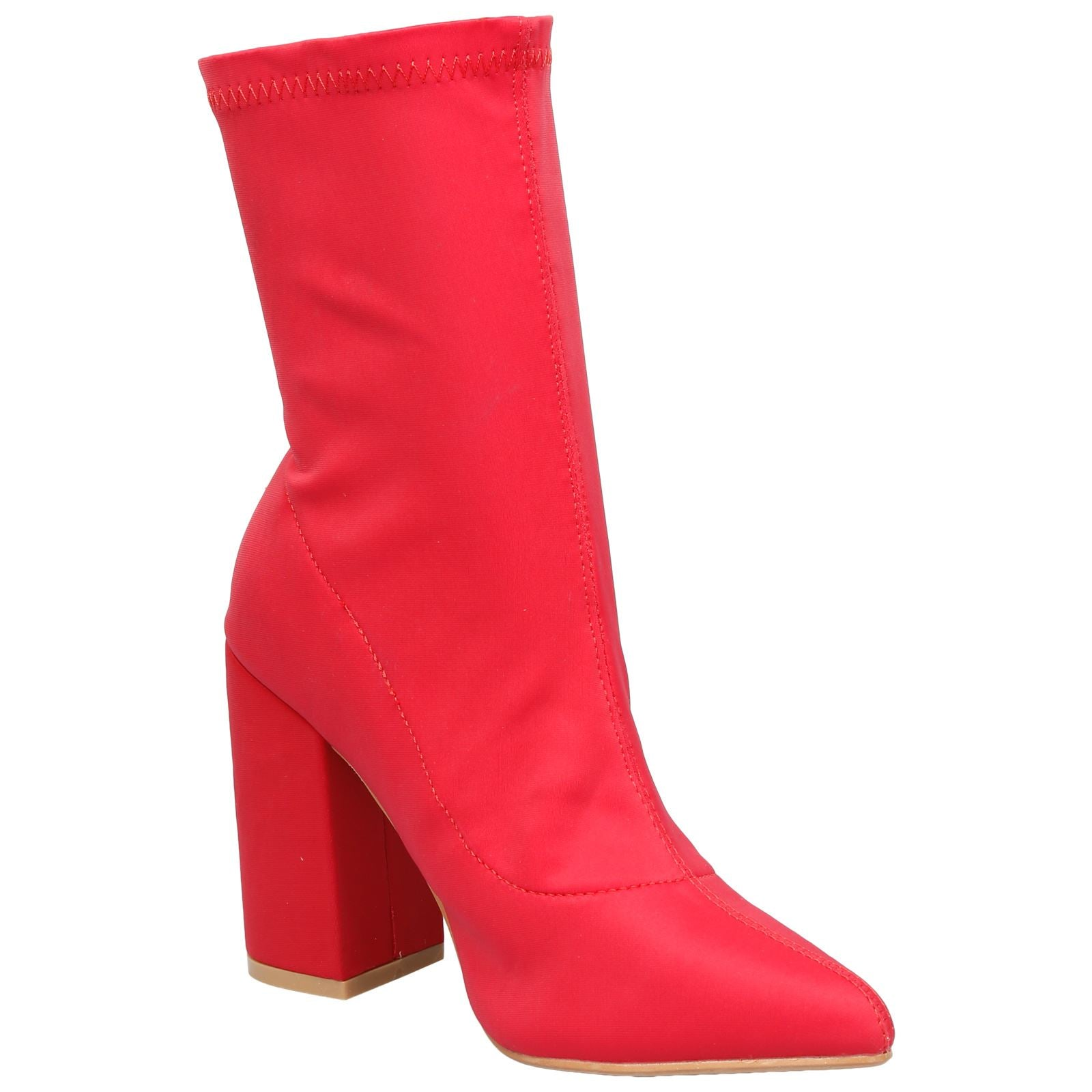 Hayden Pull On Block Heel Ankle Boots in Red