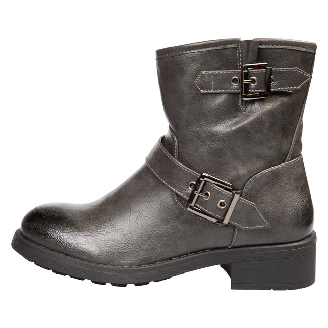 Valeria Biker Ankle Boots in Grey Faux Leather