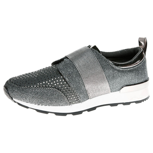 Isabelle Diamante Slip On Trainers in Grey