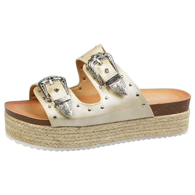 Gianna Buckle Detail Flatform Espadrille Sliders in Gold Faux Leather