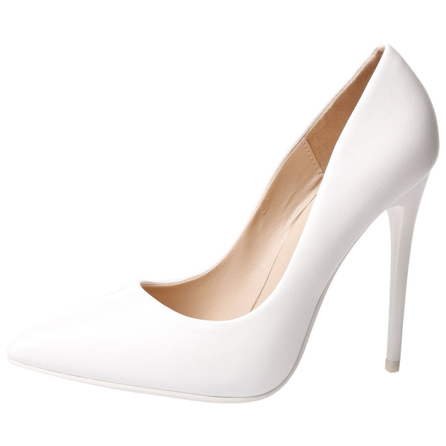 Danita Stiletto Heel Court Shoes in White Faux Leather