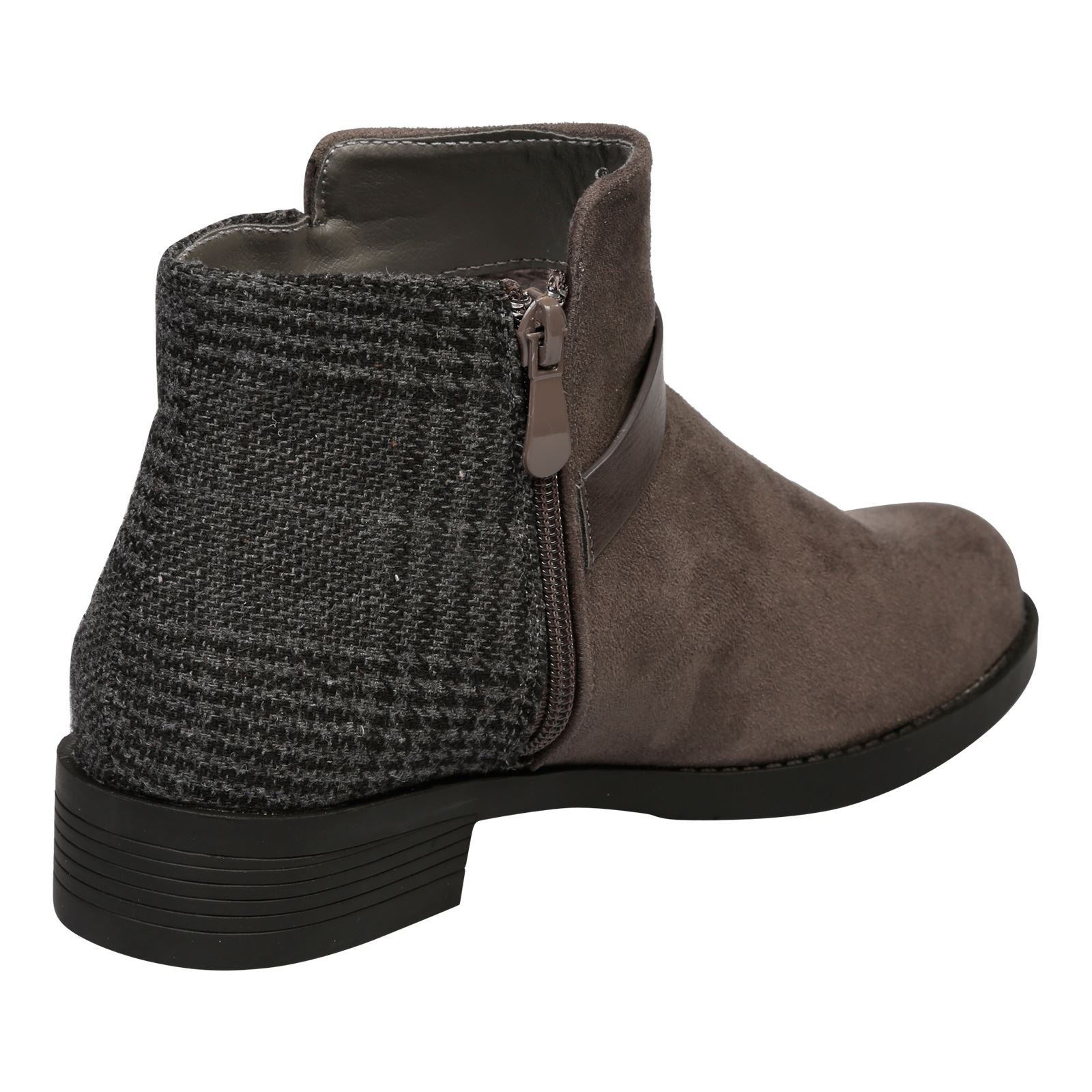 Hailee Houndstooth Ankle Boots in Grey - Feet First Fashion