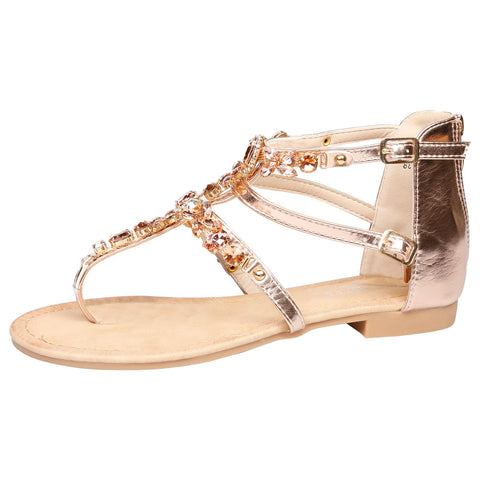Celia Jewelled Flat Sandals in Gold