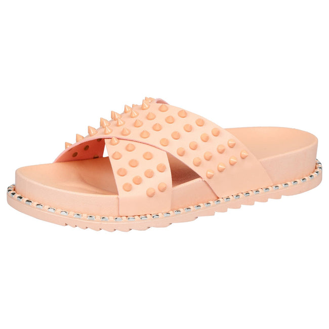 Mooya Studded Cross Strap Sliders in Pink Rubber