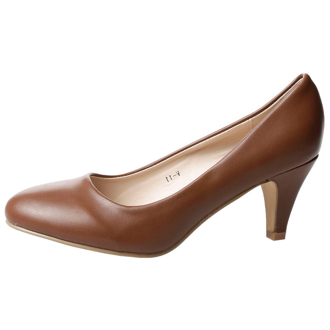 Leona Mid Heel Court Shoes in Brown Faux Leather