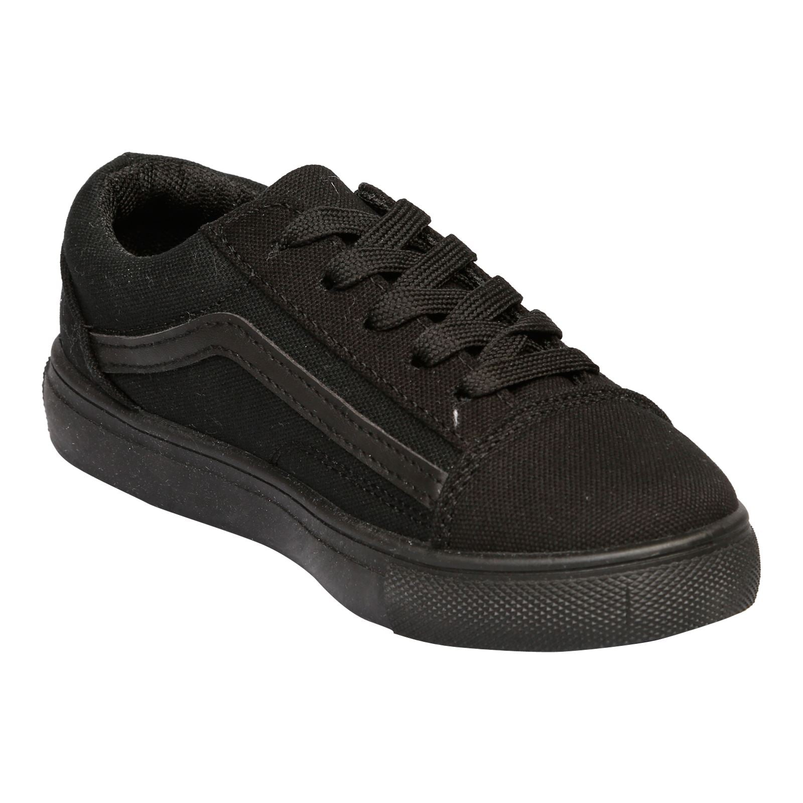 Hailee Girls Lace Up Trainers in Black - Feet First Fashion