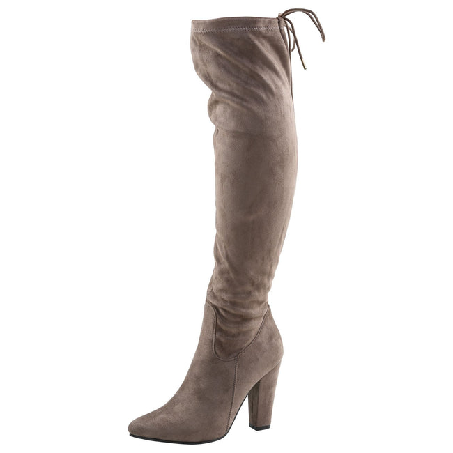 Ivone Block Heel Tie Top Over the Knee Boots in Khaki Taupe Faux Suede