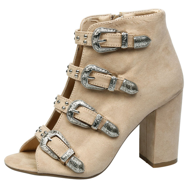 Nami Buckled Peep Toe Ankle Boots in Nude Faux Suede