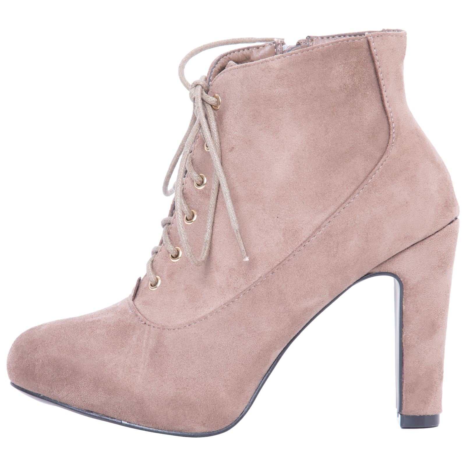 Genevieve Pointed Toe Ankle Boots in Khaki with Block Heel