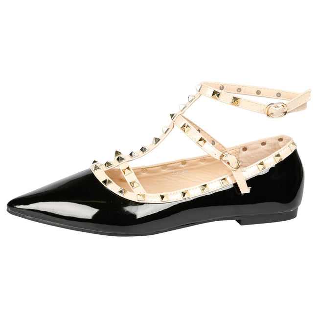 Michaela Studded Ankle Strap Flats in Black Patent