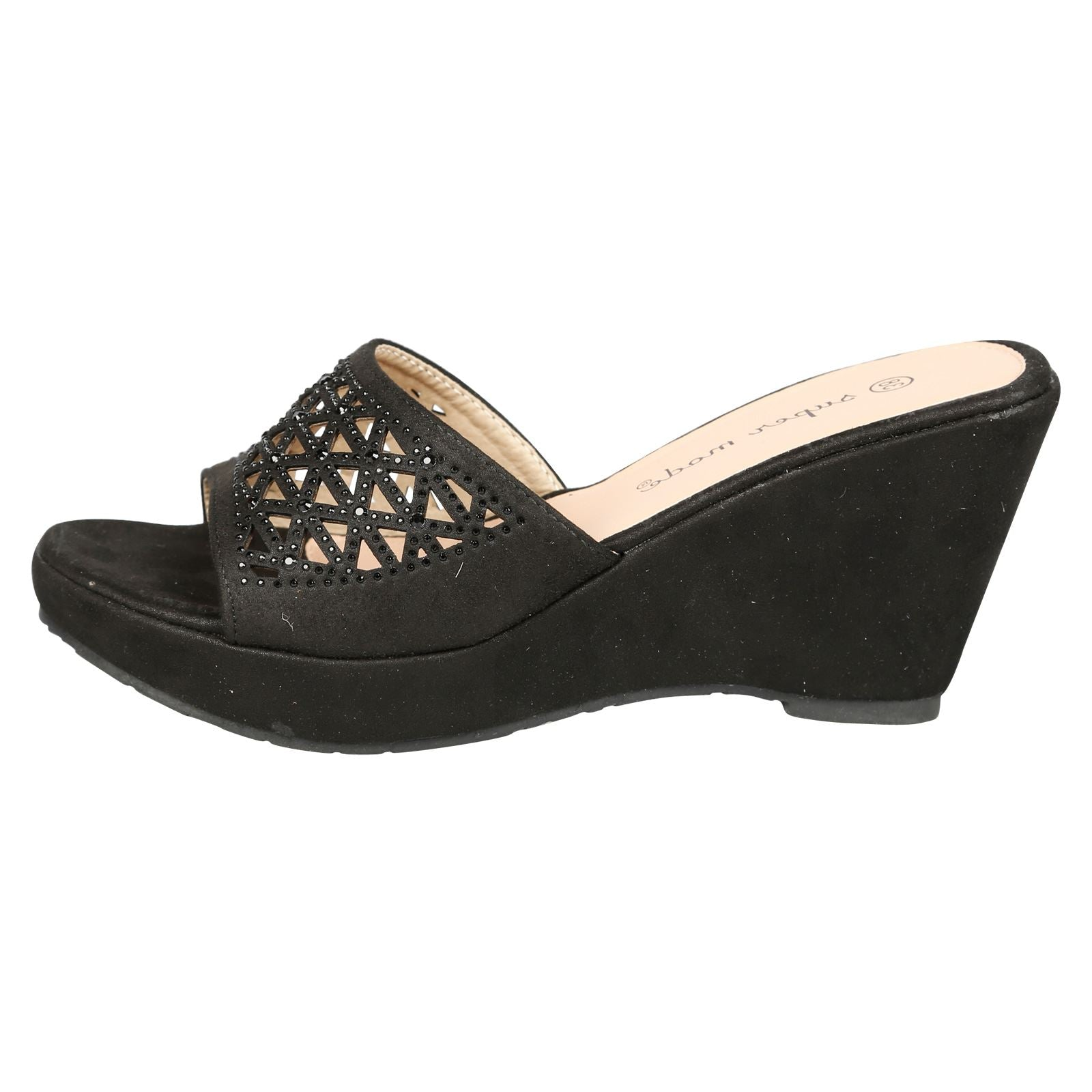 Elisha Wedge Heel Diamante Mules in Black
