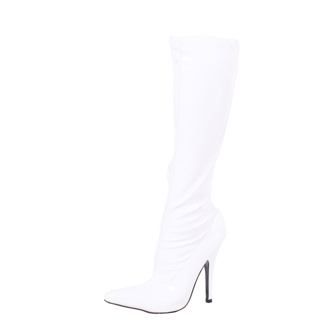 Candy Stiletto Heel Knee High Boots in White Patent