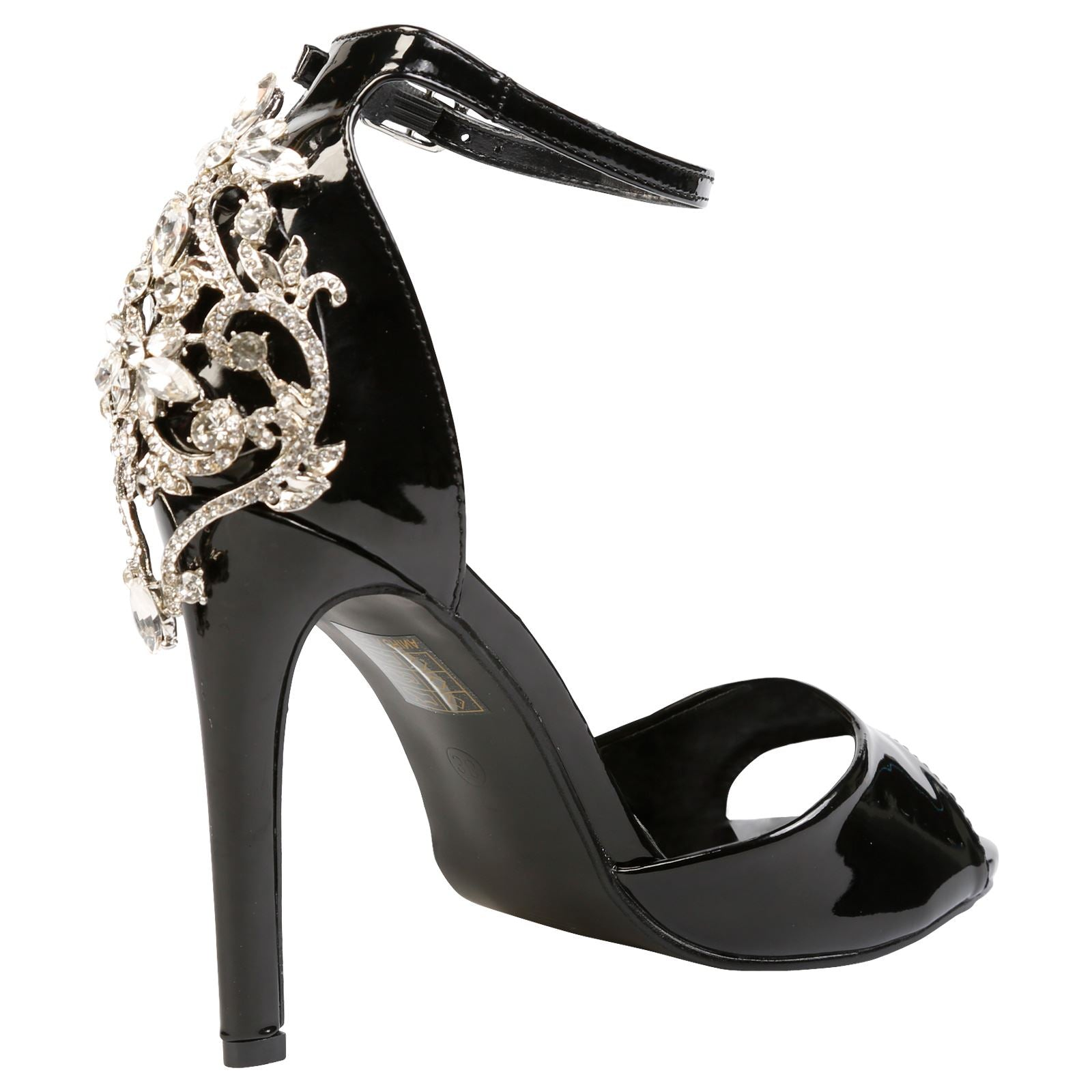 Sheila Diamante Embellished Sandals in Black Patent