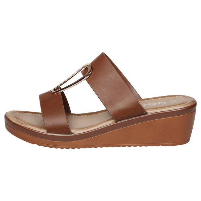 Maude Large Size Wedge Sandals in Brown Faux Leather - Feet First Fashion