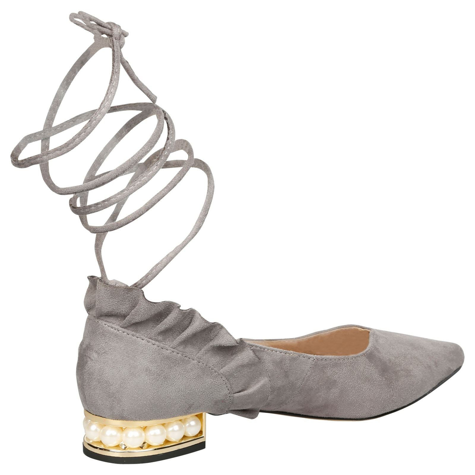 Jaelynn Lace Up Ballerina Flats in Grey - Feet First Fashion