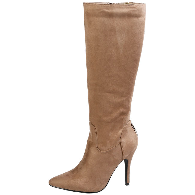 Martina Stiletto Heel Mid Calf Boots in Khaki Taupe Faux Suede