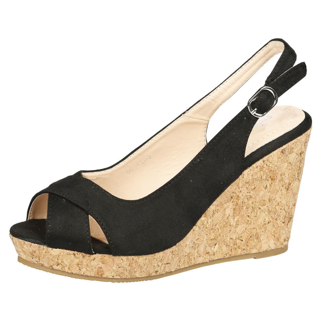 Dara Cork Sole Wedge Heel Slingback Sandals in Black Faux Suede