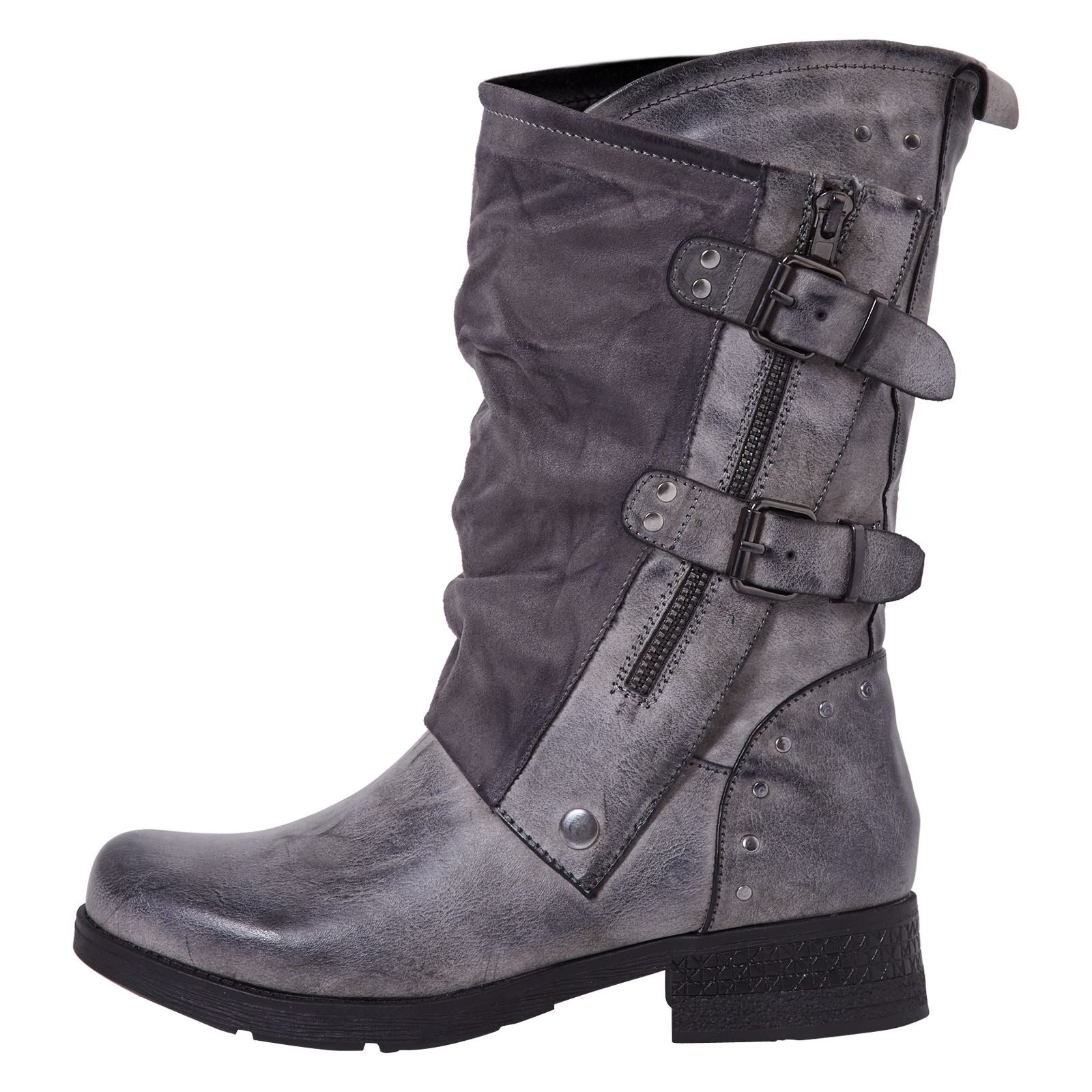 Aadhya Two Toned Mid Calf Boots in Grey - Feet First Fashion