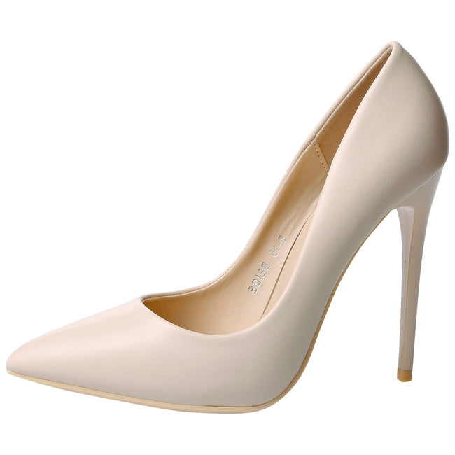 Danita Stiletto Heel Court Shoes in Beige Nude Faux Leather