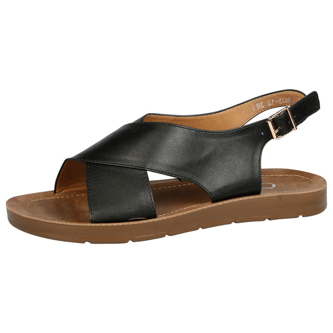 Nila Footbed Slingback Sandals in Black Faux Leather