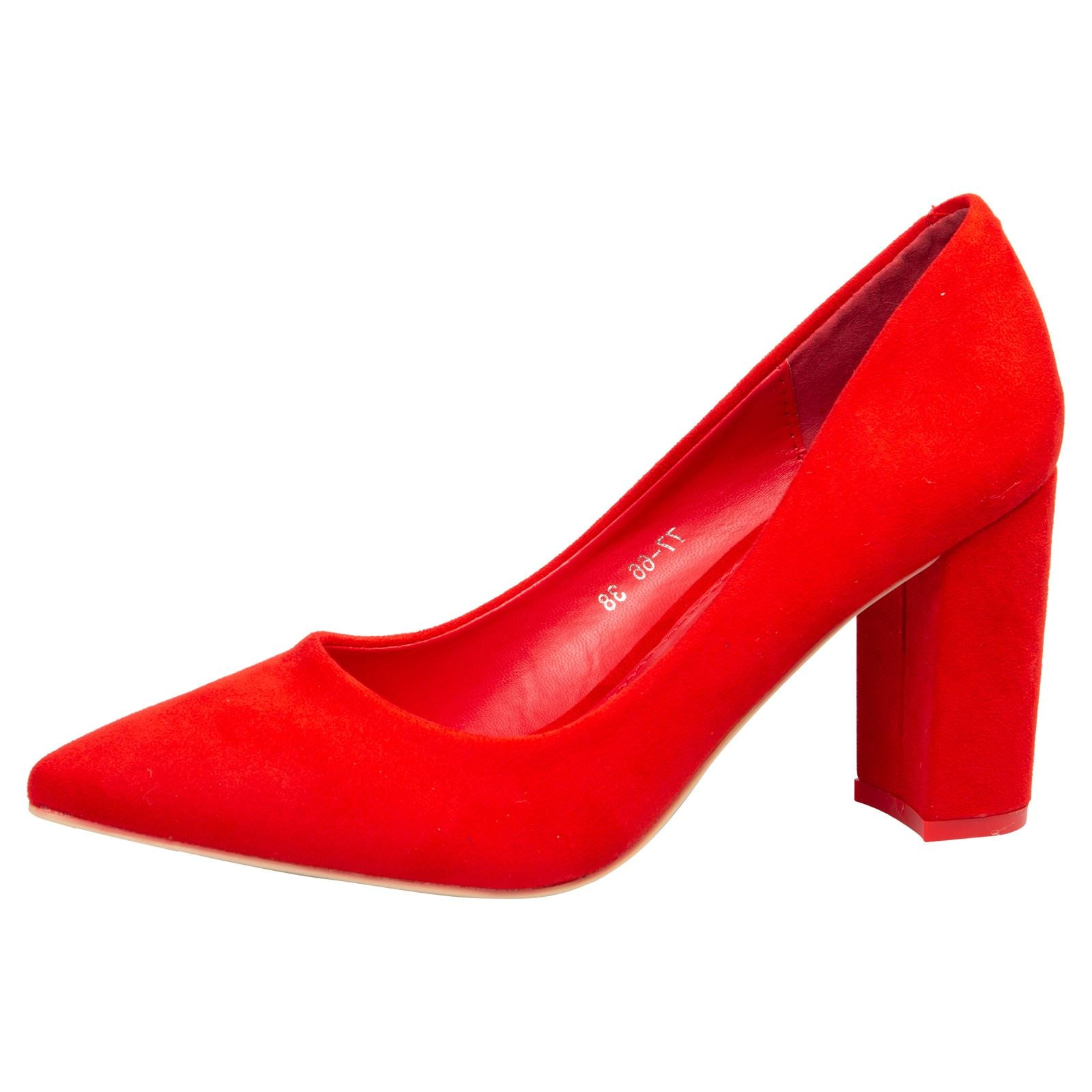 Connie Block Heel Court Shoes in Red Faux Suede
