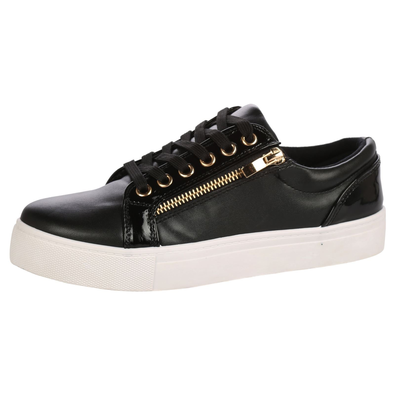Rowena Lace Up Skater Trainers in Black Faux Leather
