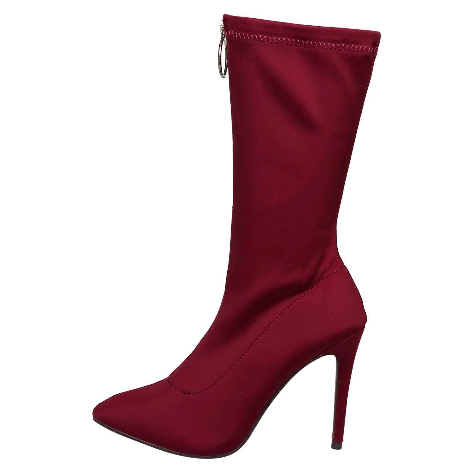 Cynthia Stilleto Heel Mid Calf Boots in Red - Feet First Fashion
