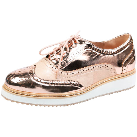 Bridget Two Tone Flatform Brogues in Gold & Beige