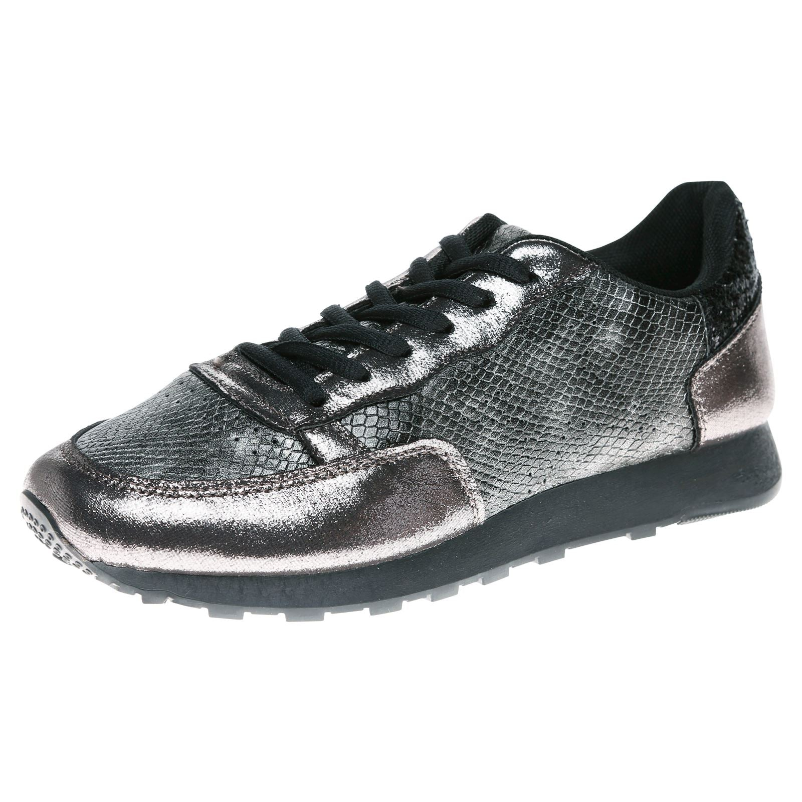 Amani Two Tone Glitter Trainers in Dark Grey Snake