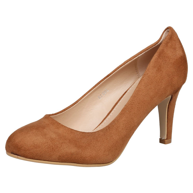 Amiya Slim Heeled Shoes in Camel Faux Suede - Feet First Fashion