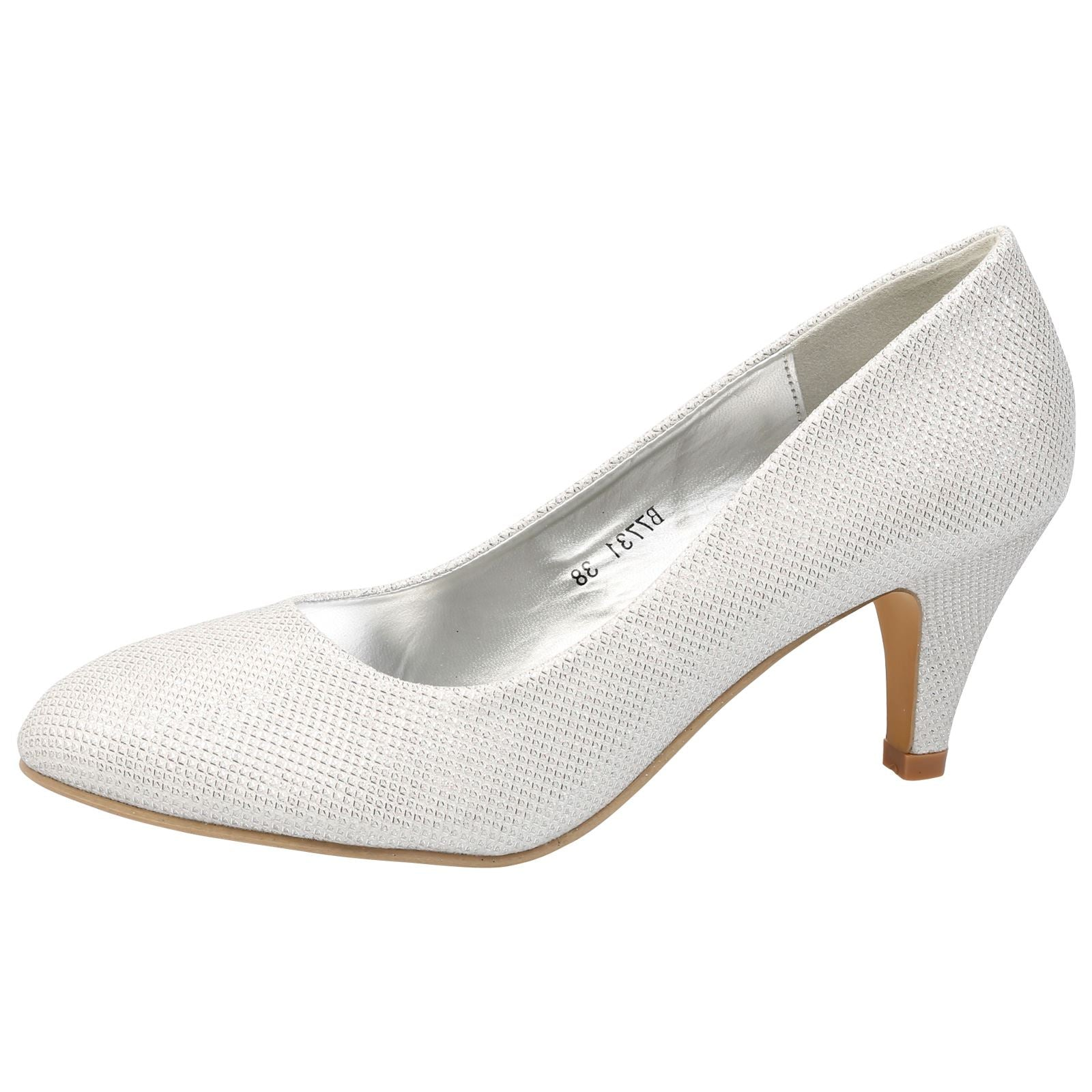 Leona Mid Heel Court Shoes in White Shimmer