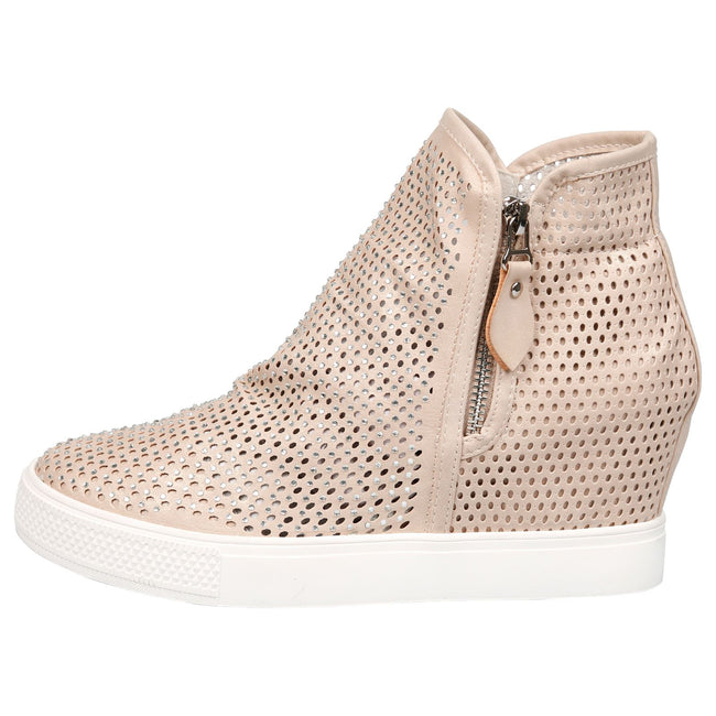 Theresa Concealed Wedge Diamante Trainers in Nude Faux Leather