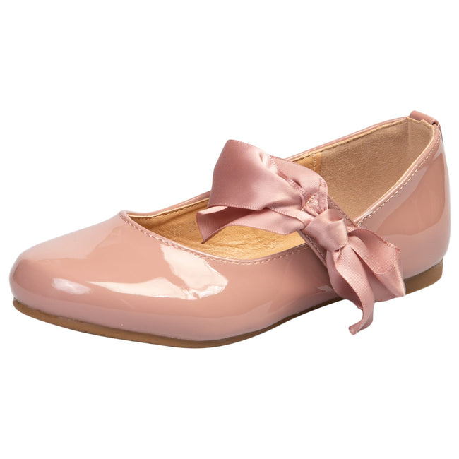 Zaniyah Girls Bow Detail Mary Janes in Pink Patent - Feet First Fashion