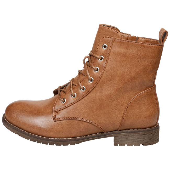 Jayde Lace Up Combat Boots in Camel - Feet First Fashion