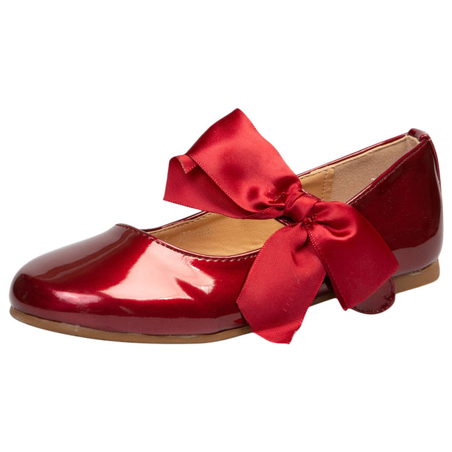 Zaniyah Girls Bow Detail Mary Janes in Red Patent - Feet First Fashion