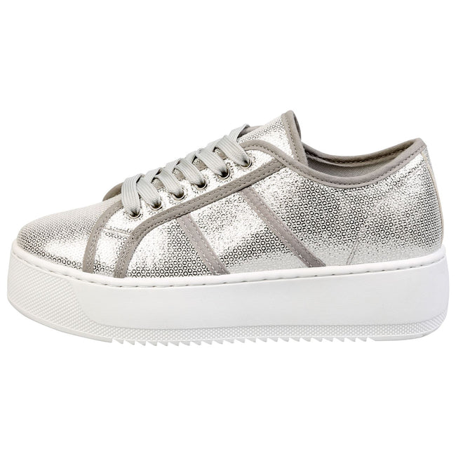 Brylee Chunky Flatform Trainers in Silver
