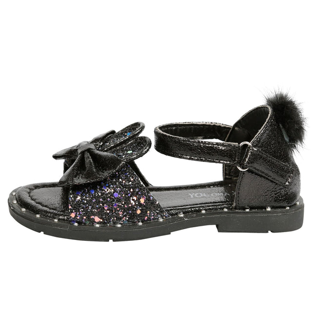 Kyra Girls Glitter Bunny Ear Pom Pom Sandals in Black - Feet First Fashion