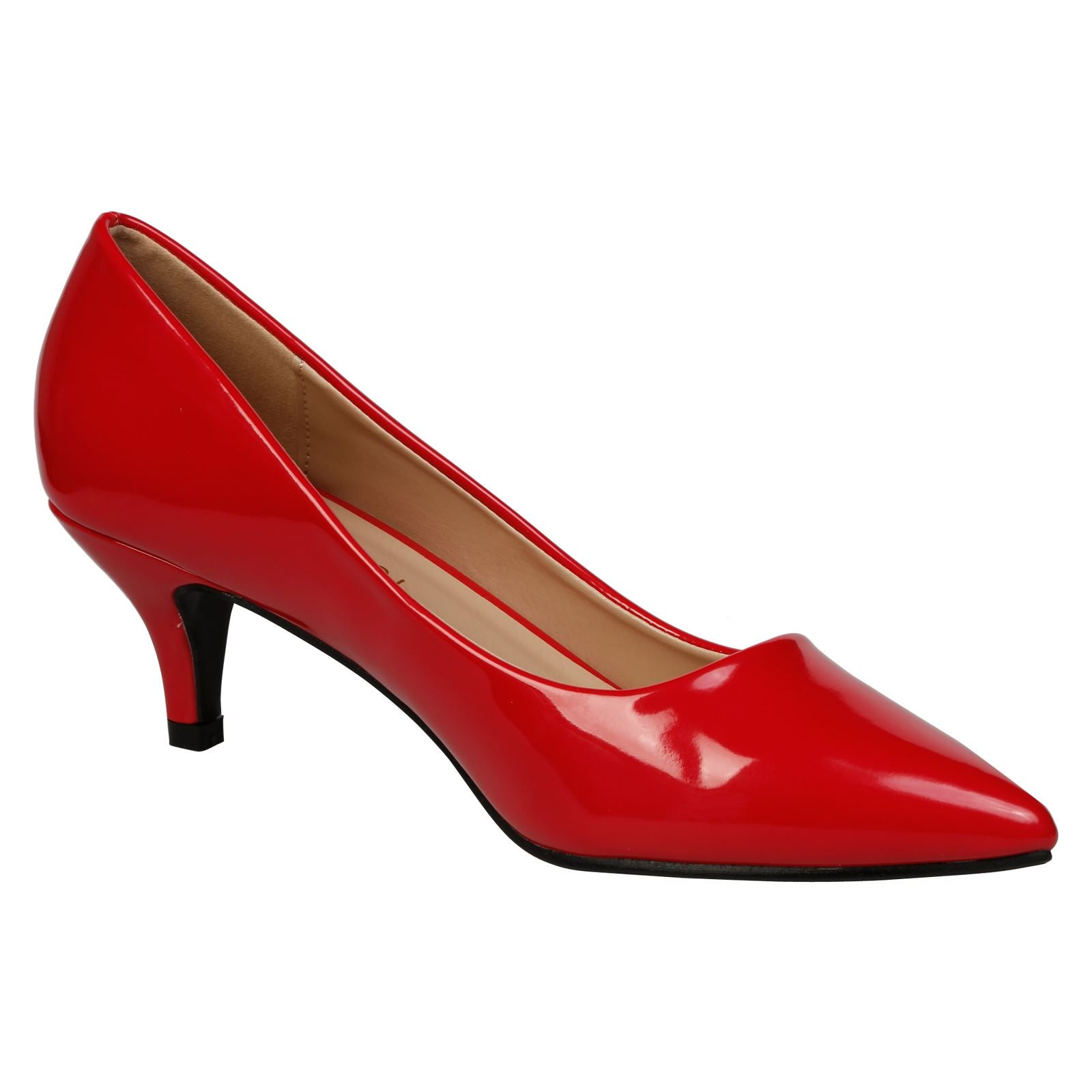 Miranda Kitten Heel Pointed Toe Court Shoes in Red Patent