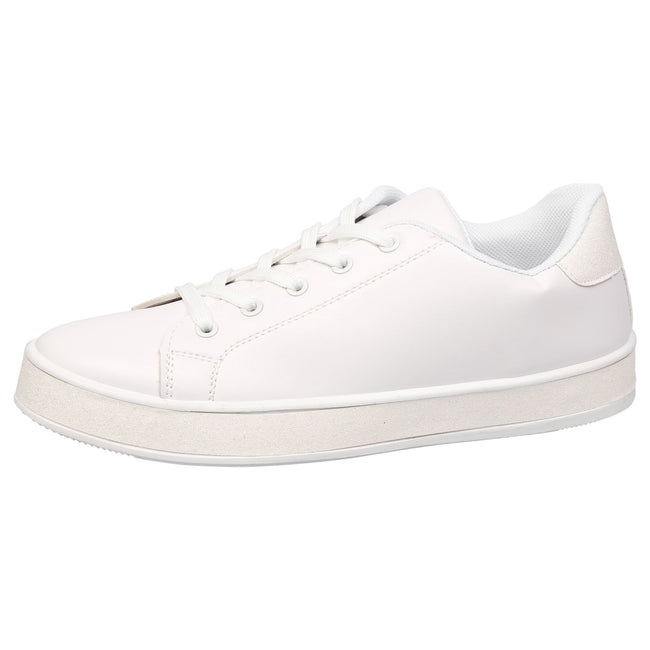 Koko Leather Look Skater Pumps in White with White Glitter