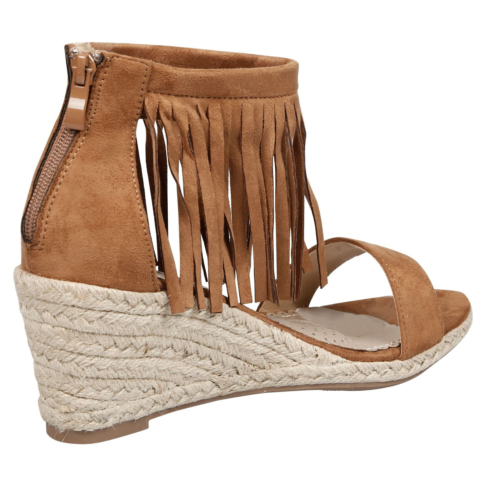 Nadja Fringed Wedge Espadrille Sandals in Camel Faux Suede