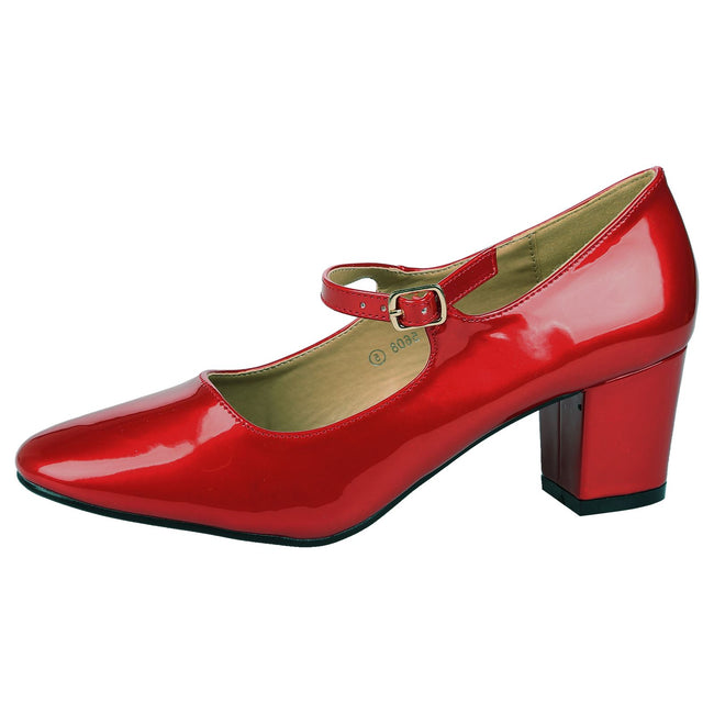 Xanthe Classic Block Heel Mary Janes in Red Patent