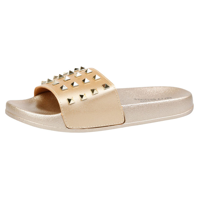 Patricia Studded Sliders in Gold Faux Leather