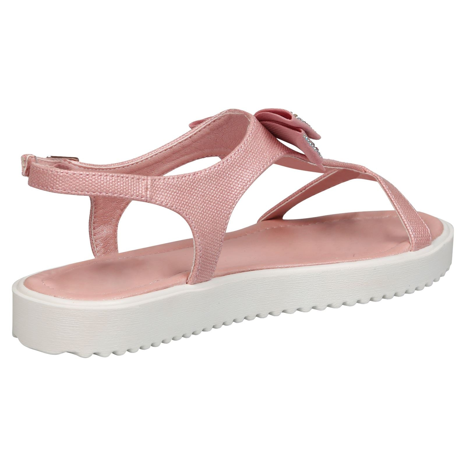 Shannon Girls Textured T-Bar Bow Sandals in Pink - Feet First Fashion