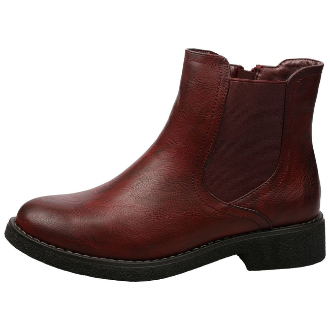 Soraya Classic Chelsea Ankle Boots in Wine Red Faux Leather